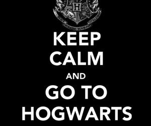 hogwarts, harry potter, and keep calm image