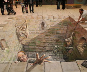 Julian Beever and hemmed in image