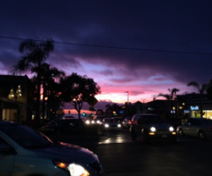 car, purple, and sky image