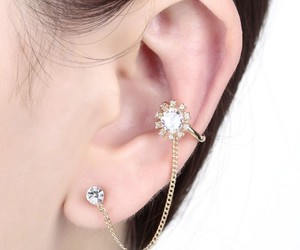 chain ear cuff, chain stud earrings, and ear cuff with chain image