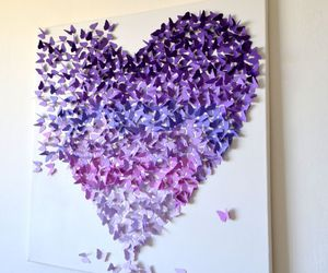 heart, butterfly, and purple image