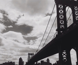 black and white, bridge, and clouds image