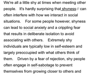 shy, social anxiety, and shyness image