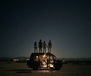 night, stars, and friends image
