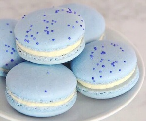 blue, sweet, and macarons image