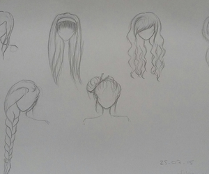 braid, curly, and drawing image