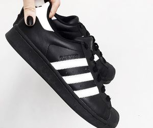 adidas, black and white, and superstar image
