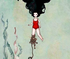 girl, anchor, and drawing image