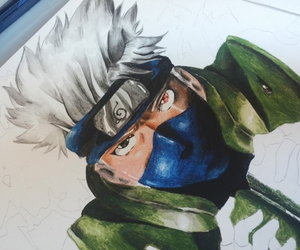 anime, draw, and kakashi image