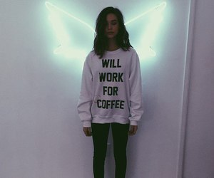girl, angel, and coffee image
