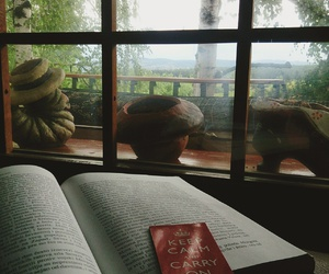 books, keep calm, and rainy day image