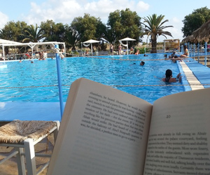 books, pool, and reading image