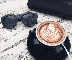 coffee, sunglasses, and black image