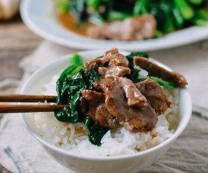 food, beef, and broccoli image