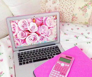 pink, calculator, and flowers image