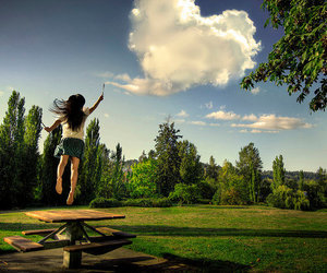 girl, heart, and clouds image