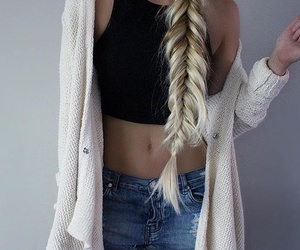 blonde, long hair, and outfit image