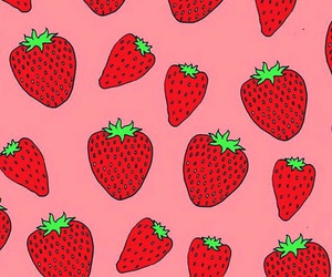 red, wallpaper, and strawberry image