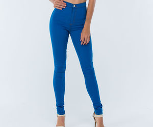 blue, high waist, and jeggings image