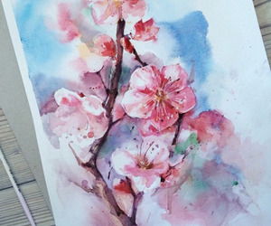 art, flowers, and pink image