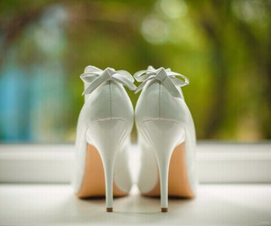 white, heels, and shoes image