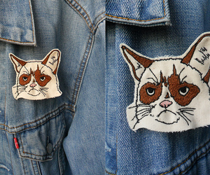 cat, embroidery, and jeans image