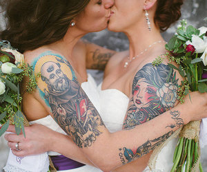 couple, lesbians, and just married image