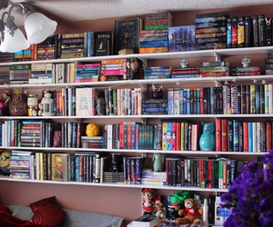 books, bookshelf, and love image