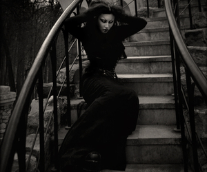 black and white, gothic, and stairs image