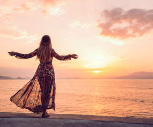 fashion, outfit, and sunset image