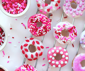 pink, donuts, and sweet image