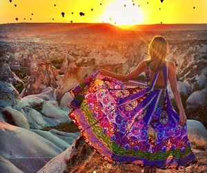 sunset, dress, and travel image