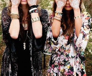 flowers, hippie, and white tatoo's image