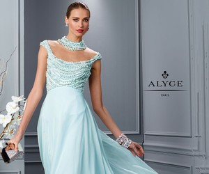 beaded, evening gown, and illusion image
