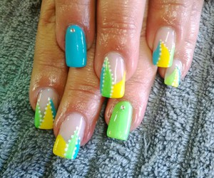 abstract art, neon nails, and nailart. image