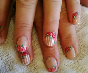 flowers, nails, and stripes image