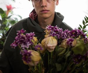 cole sprouse, boy, and flowers image