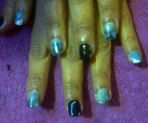 blue, blue and black, and nailart image