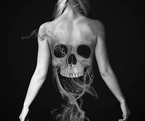 skull, black and white, and smoke image