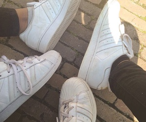 adidas, superstar, and all white image