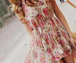 dress, flower, and girl image