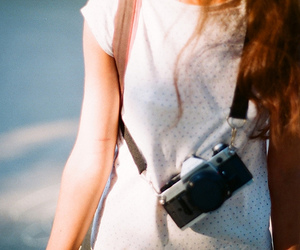 camera, vintage, and hair image