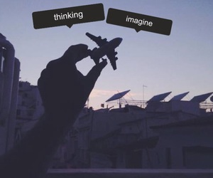 airplane, fly, and hand image