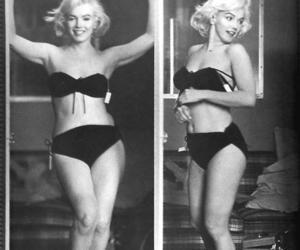 Marilyn Monroe, black and white, and bikini image