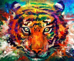 art, tiger, and paint image