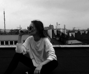 girl, black and white, and black image