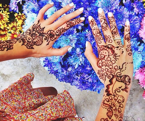 henna, flowers, and summer image