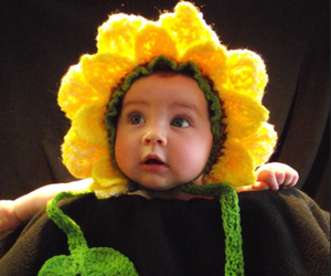 adorable, baby, and sunflower image
