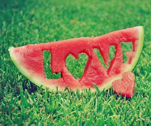 heart, watermelon, and love image