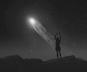 black & white, dreams, and shooting star image